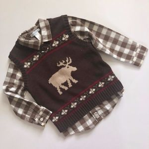 Boys Janie & Jack Plaid Shirt Brown Moose Vest 4T